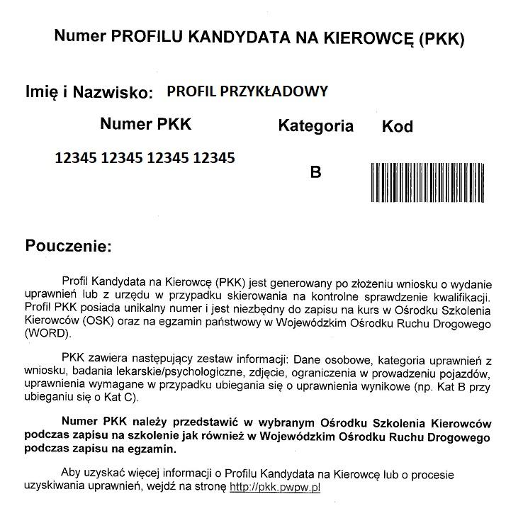 Wzór PKK, Profil Kandydata na Kierowcę, Profil Kierowcy